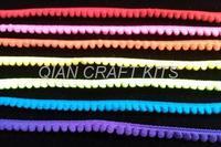 50 yards - rainbow color pom pom trim - size 9 mm (pom pom width 5mm)