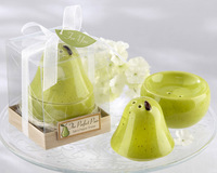 "NEW ARRIVAL ""The Perfect Pair""  Pear Ceramic Salt and Pepper Shaker Wedding giveaways gifts and favors 100sets/lot FREE SHIPPING"