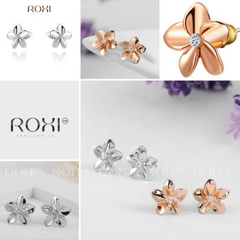 Roxi милые женские серьги-гвоздики ручной работы, изготовлены из розового золота (позолота), с трех разовым золотым напылением, серьги украшены австрийскими кристаллами, исполнены в виде цветка, 2 цвета в наличии