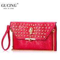 Gucing women's handbag summer small bag skull bags female cross-body one shoulder handbag red crocodile pattern chain bag