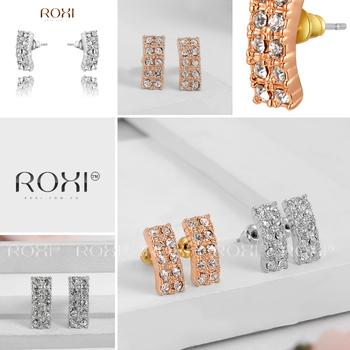 Roxi женские серьги-гвоздики ручной работы, изготовлены из розового золота (позолота), с трех разовым золотым напылением, серьги украшены по всей длине австрийскими кристаллами, изумительный дизайн, 2 цвета в наличии