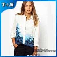 Free Shipping Blouses For Women 2014 Autumn Summer Fashion Ladies Office Chiffon Blouse Shirt S/M/L