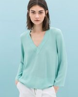 2014 New fashion Europe Chiffon Blouse V Neck Long Sleeve Casual Blouses Solid Color Fashion Shirt   #zpp634