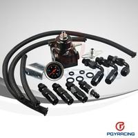 WLR STORE- Full Black AE STYLE 7MGTE MKIII Fuel Pressure Regulator with hose line kits.Fittings.Gauge