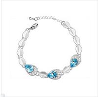 Austrian crystal bracelet 2014 new woman's romantic water drop charm bracelets light blue
