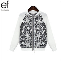 Lanluu 2014 New European Ladies Embroidery Stitching Coat Casual Hollow Out Women's Jackets Outerwear SQ385