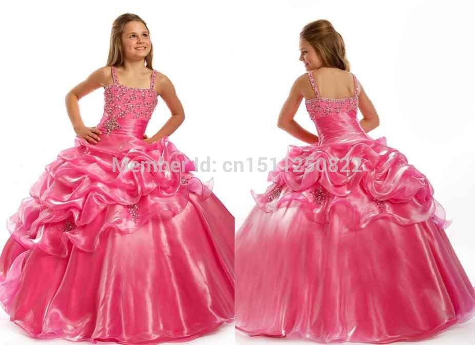 süße kinder partei organza perlen spaghettiträgern Abend kristall boden länge ballkleid 2014 rosa blume mädchen kleider