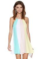 JR8359  Loose Cross Strap Halter Chiffon Dress Ladies  Summer Dress 2014 Women Rainbow Of Multicolored Sleeveless  Dress