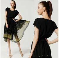 2014 Women Summer Casual Dress Fashion Ruffle Boho Chiffon Evening Ball Gown Party Dresses Beach Vestidos