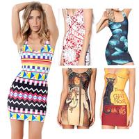 Black Milk Summer Dress Print Vest Dress2014 New Women Sleeveless Sheath Mini Dress Casual dress