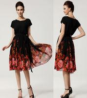 New Casual Vintage Women Chic Chiffon Dresses Ball Party Formal Long Retro Dress