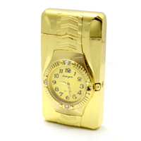 Watch Windproof Refillable Butane Gas Cigarette Cigar Flame Lighter Golden Color