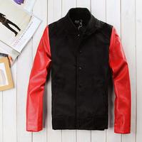 New Men 2014 Sweater PU Leather Collar Sweater Personalized Baseball Stitching Clothes Man Jacket Plus Size M-XXL CMR57