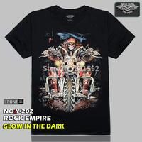 Free Shipping 2014 New Glow In The Dark  Ghost Rider Harley Skull 3D Digital Print Men T-Shirts