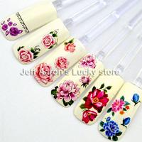 beauty water transfer nail sticker decals for nail art tips decorations tool fingernails decorative flower design MC 12PCS/lot