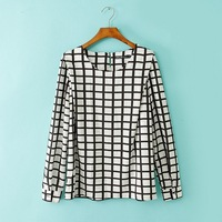 2014  Promotion Sale New fashion Long Sleeve black white plaid  women  pullover plus size Loose blouse  #zpp637