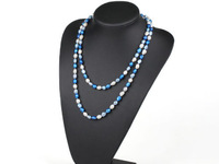 Nice Three-Colour 8-9mm Rice Shape Freshwater Pearl Double-Layer Women Necklace