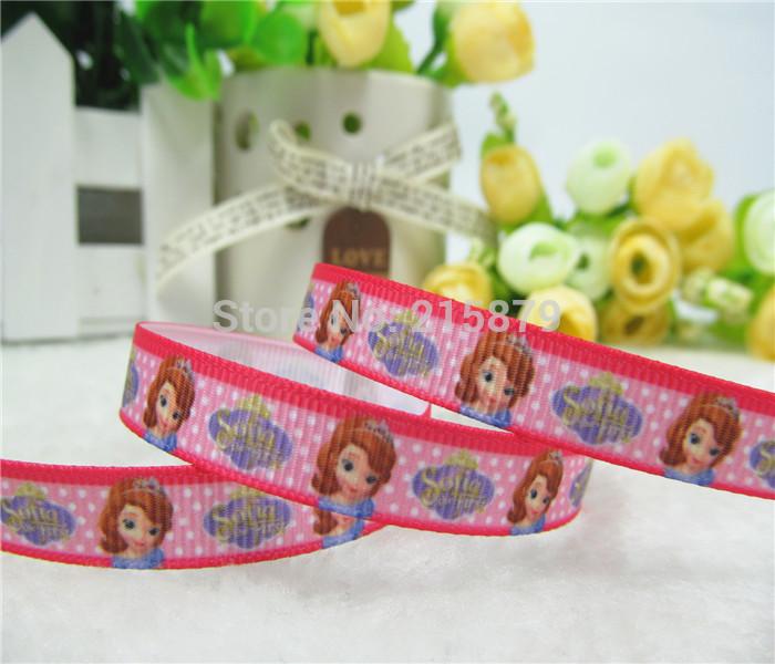 "Free shipping 3/8"" 9mm little princess sofia ribbon grosgrain hairbow making(China (Mainland))"