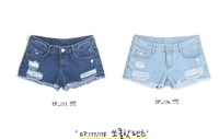 2014 women fashion vintage girl denim blue jeans shorts pants two color to choose free shipping plus size 26~38