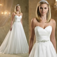 Hot Selling White Satin with beading A-line Wedding dresses Bride Dresses\Gown 2014