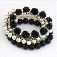 Hot Sale! Candy color peal bracelets for woman 2014 new black rose design crystal bracelets 6 colors