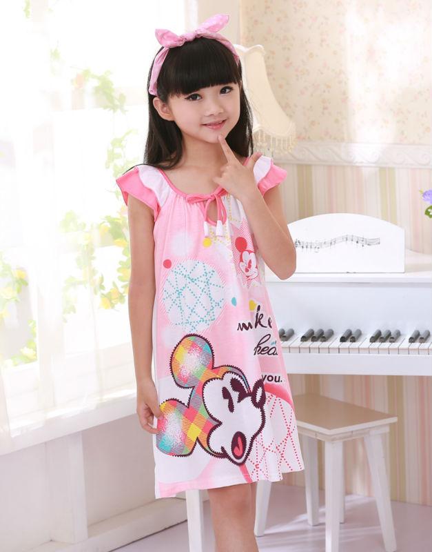 Freeshipping fashion design low price 100% knitted cotton kids/girls/childrens nightgowns summer pajamas/home dress sleepshirt(China (Mainland))