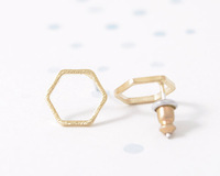 Min 1pc Gold Silver Pink Gold elegant Hexagon Stud Earrings