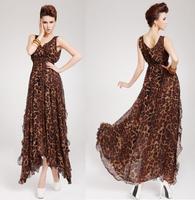 Women's Sexy Leopard Chiffon V-neck Evening Ball Gown Vintage Long Maxi Dress