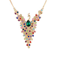 Colorful Rhinestone Peacock Gold Color Alloy Chain Pendant Necklace New 2014  Designer Collares Bijoux Women