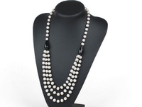 Nice Three Layer Natural White Freshwater Pearl & Black Agate Stone Women Necklace