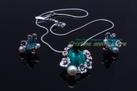 18K Silver Plated Viennois Austrian Crystal Zircon Green Pendant Necklace and Clip Earrings Sets Unique Design Free Shipping