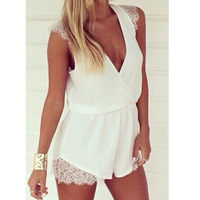 New 2014 Sexy Celeb Lace Chiffon V-Neck Party Summer Beach Jumpsuits Playsuit Shorts Rompers Womens Jumpsuit Women