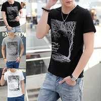 2014 male short sleeve summer t shirt pattern men's clothing basic color block shirt 100% casual cotton t-shirt free shipping