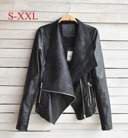 Spring Autumn New Designers Fashion Women Coat Slim Short PU Leather Jacket Women's Coats Jackets Outerwear jaqueta Black Beige