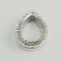 New 30*18*8mm Silver Tear Shape Magnetic Glass Floating Charm Locket Zinc Alloy Rhinestone Free shipping 1PC 38654