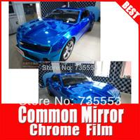 TSAUTOP Free shipping 1.52x0.6M 100% air free bubble mirror chrome car viny wrap car wrap vinyl(blue)