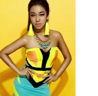 Gradient temperament retro metal exaggeration short necklace for woman fashion colorful necklaces