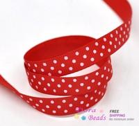 "10 Yards Red Dot 3/8"" Wedding Craft Grosgrain Ribbon (B14782)"