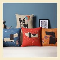 Cartoon Lovely Dog modern Cotton Linen Pillow Case Ikea Nap Pillow Office Lumbar Pad Trendy Cushion Covers 45*45CM B6230 A.A