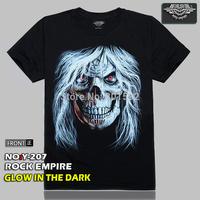 Free Shipping   Glow In The Dark  Men's o-neck T-shirt white hair Skull Rock T-shirt  100% Cotton