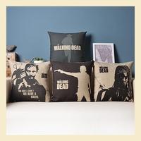 """""""walking dead"""" modern Cotton Linen Pillow Case Ikea Nap Pillow Office Lumbar Pad Trendy Cushion Covers 45*45CM B6233 A.A"""
