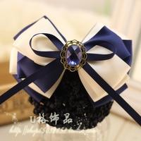 Quality Blue Crystal Rhinestone  Hair Accessory Ribbon Bow Net bag Satin Flower Hair Pin Hair Clips Hair Grip