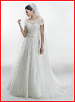 Free Shipping Sweetheart Lace Tulle A-line Gown with Jacket Bridal Gown, Wedding Dresses 2014 Glenda