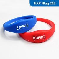 RFID adjustable Silicone Wristband/bracelet Tag, Silicone RFID Wristband RFID with Ntag 203 Chip Free Shipping