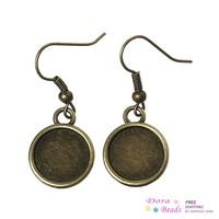 Earring Hooks Round Antique Bronze Cabochon Setting(Fits 12mm Dia) 3.4cm x 1.4cm,25 Pairs (B36071)