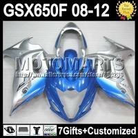 7gifts For SUZUKI GSX650F blue 08-12 GSX 650F GSX650 F GSXF650 K313  08 09 10 11 blue silver 12 2008 2009 2010 2011 2012 Fairing