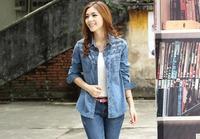 CL1664 European Style Denim Jacket Long Sleeve All-Match  Retro Single Breasted Blouson Coat Spring Fall Women Lady Outwear