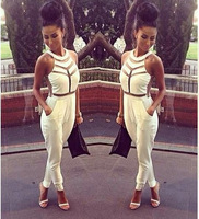 Fashion Net yarn splicing halter Jumpsuit Sexy women bandage dress Milenka Mesh Panel Jumpsuit White Black S M LFree shipping