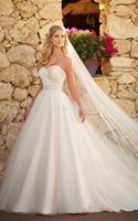 Ready for Sale Free Shipping 2014Popular White/Ivory beading sashes Taffeta vestido de renda A-lilne Luxury Wedding Dresses