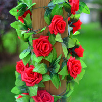 1PC Silk Rose Flower Fake Artificial Ivy Vine Hanging Garland home Wedding Decor